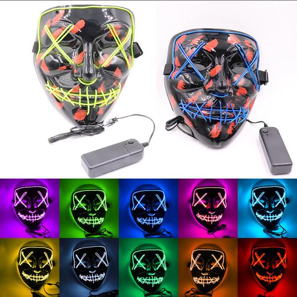 Maske LED leuchtet lustige Maske aus dem Purge Wahljahr Groß für Festival Cosplay Halloween-Kostüm