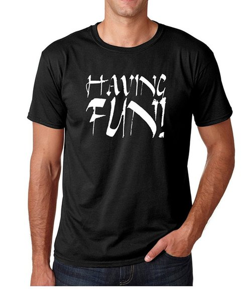 Custom Printed Shirts Crew Neck Having Fun! - Cool Short-Sleeve Office Mens Tee