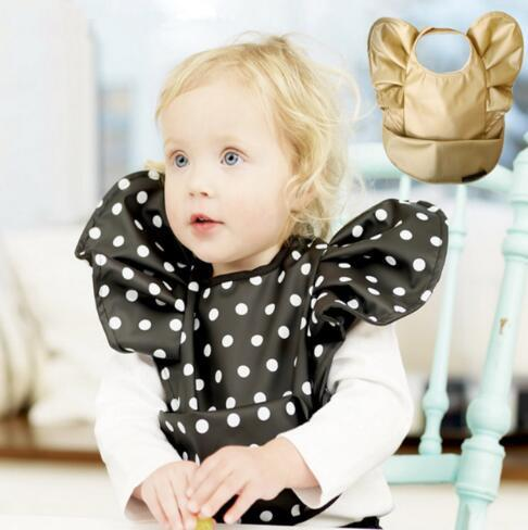 Bavoirs enfants étanche salive serviette garçon fille Burp chiffons polka dot or bavoir étanche mignons enfants chiffons alimentant l'outil Bandana KKA3920