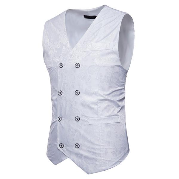 Compre Líneas Oscuras De Impresión Chalecos De Vestir Para Hombres Slim Fit Chaleco De Traje De Hombre Chaleco De Hombre Homme Casual Chaqueta De