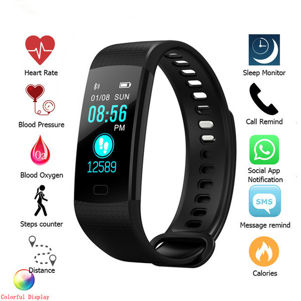 Bluetooth Smart braccialetto Y5 Smart Wirstband Display a colori Chiamata / SMS / App Push Fitness Tracker Salute Tracker Smart Band