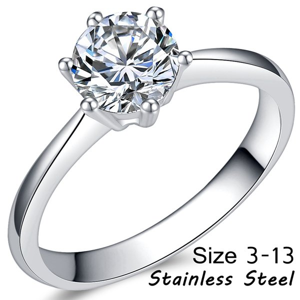 Stainless Steel 1.0 CT Cubic Zircon Diamond Wedding Engagement Propose Anniversary Solitaire Ring Classical proposal promise party