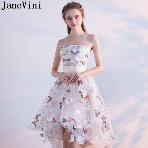 JaneVini Butterfly 3D Flowers Floral Evening Prom Dresses High Low Short Front Long Back Strapless Party Dresses Formal Wear Prom Gowns
