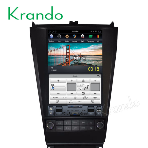"Krando Android 6.0 12.1"" Tesla Vertical screen car dvd audio radio player for Honda accord 7 2003-2007 gps navigation multimedia system"