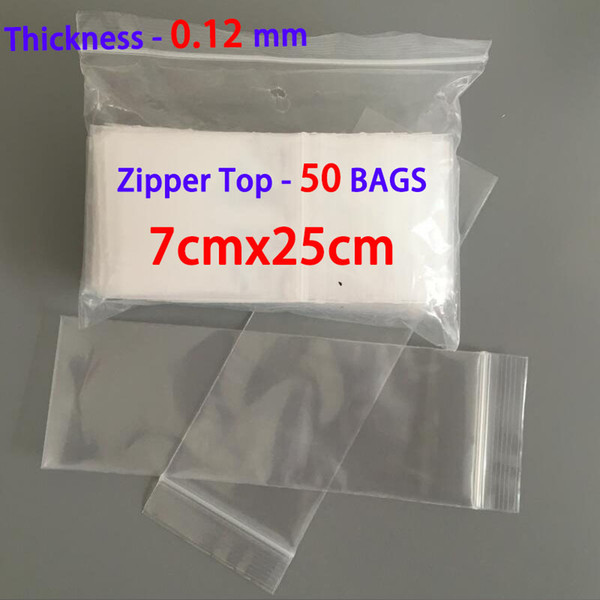 50pcs 7x25cm Ziplock Zipper Lock Plastic Baggie Jewelry Packaging Poly Clear Bags Self Sealing Resealable Bag Gift Pouches