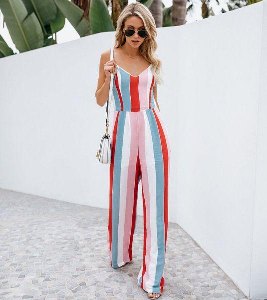 Women Jumpsuit Clubwear Playsuit Bodysuit Party Striped Sleeveless Backless Jumpsuit Romper Chiffon Long Trousers