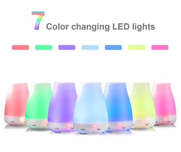 Aromatherapy Oil Diffuser Humidificador de aire Niebla fresca con color Luces LED Difusor de aceite esencial Humidificadores de aire sin agua