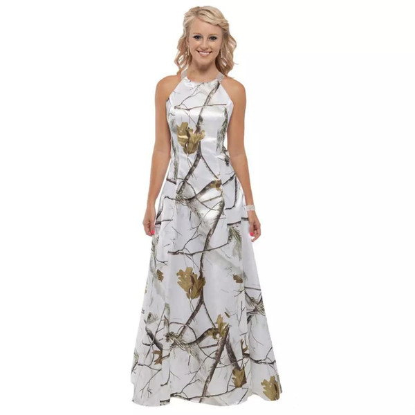 Elegant White Camo Wedding Dress 2019 Cheap Sweep Train Criss Cross Back Bridal Gowns Beaded Custom Made Vestidos De Mariage