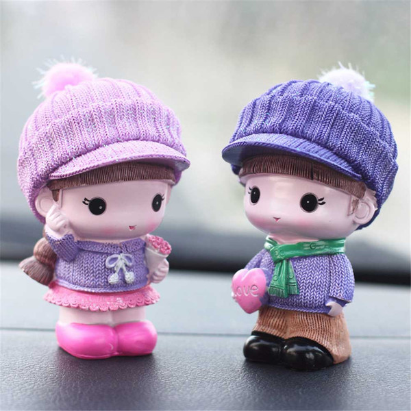 Creative car crafts ornaments cute doll - playful couple suitable for car home office decoration (4 style)