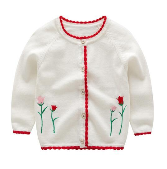 Girl clothesfloral design cardigan sweater coat sets girl top fall knitting sweaters with buttons