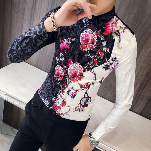 Quality Korean Men Shirt  New Slim Fit Long Sleeve Vintage Print Shirts For Men Clothes 2018 Casual Prom Tuxedo Blouses Men
