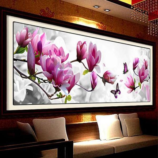 best selling DIY Diamond Embroidery 5D Painting Rhinestones Magnolia Flower Cross Stitch Kits Embroidery With Diamonds Diamond Mosaic Picture 105*35cm