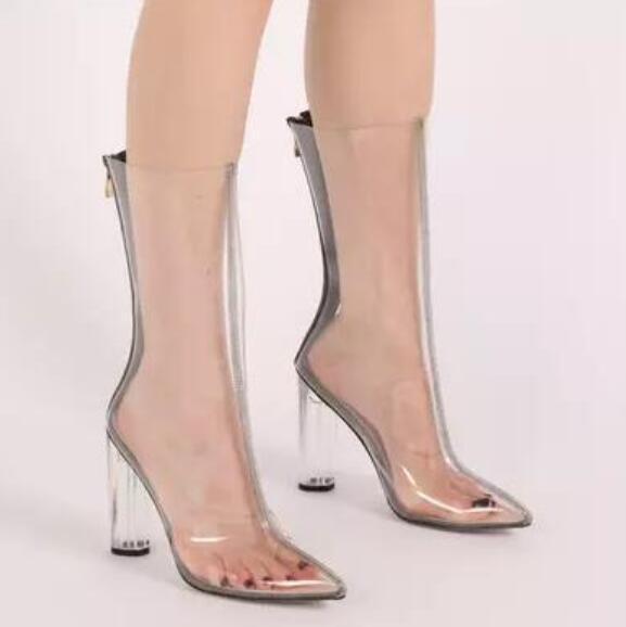 Mode Bottes PVC 2018 Clair Mi Hautes Talon Talon Bottines Bottines Acheter Lacets Mollet Femmes Transparent Gladiateur Bottes Sandales PVC DH9YeWE2I
