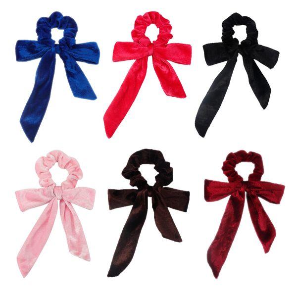 Lovely Long Bow-knot Hair Scrunchies Girls Winter Velvet Elastic Hair Bands For Women Ponytail Holder Fashion Hair Rope Headwear