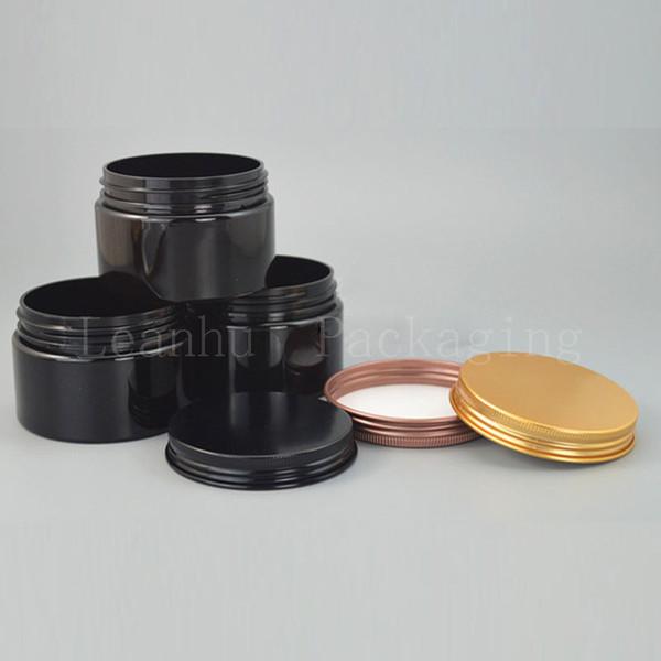 Siyah Plastik Doldurulabilir Krem Kavanoz, Alüminyum Kapaklı, 150G Boş Kozmetik Kapları, Yüz Kremi, Yüz Maskesi Ambalaj Kapları