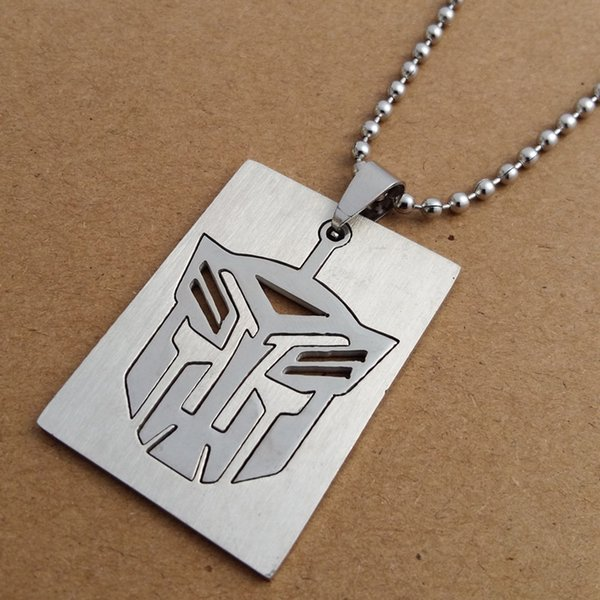 1pcs double stainless steel transformer logo symbol necklace detachable movie hero superhero necklace rectangular character logo necklace