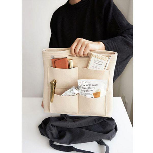 Multi-function Storage Bags,Felt Insert Purse Organizer,Multi Pocket Cosmetic Bag in Bag Organizer For Tote & Handbag Shaper