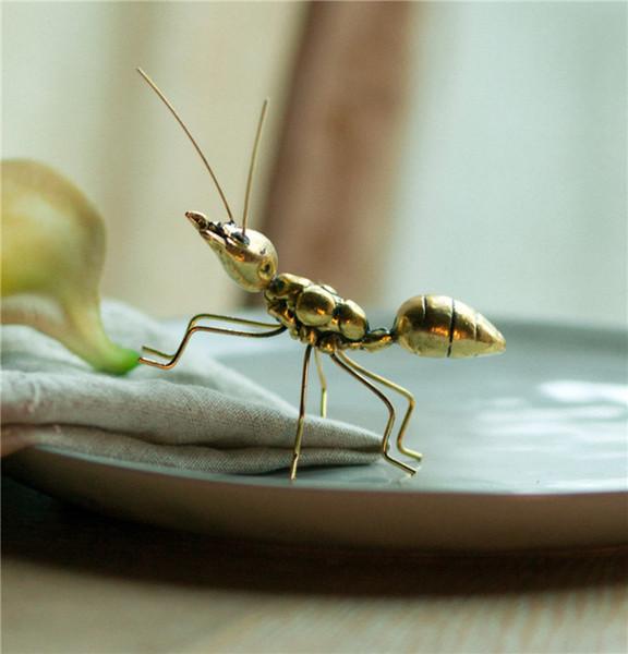 Handgemachte Vintage Kupfer Gold Ornamente Ant Super Nette für Home Office Kunst Handwerk Geschenke Miniatur Fee Garten Dekoration