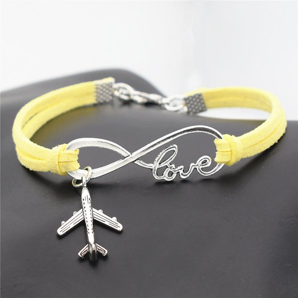 wholesale women men yellow Leather Rope jewelry charms bracelets and bangles fashion Infinity Love Aircraft Pendant accessory freeshipping