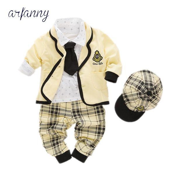 Großhandel Arfanny Neugeborenen Jungen Set Geburtstag Taufe Tuch Säuglings Baby Jungen Formale Hochzeit Kleidung Anzug Mantel T Shirt Pant Hut
