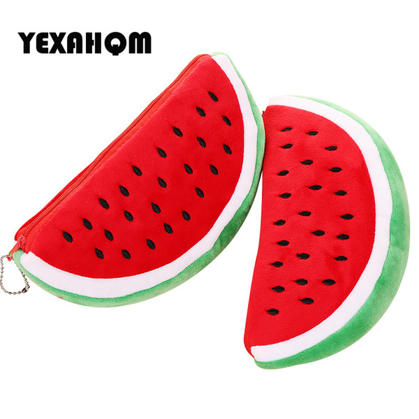 YEXAHQM Watermelon Stuffed Plush Toy Cute Pencil Case Pen Bag School Supplies Soft Plush Toy For Children Kids Best Gift