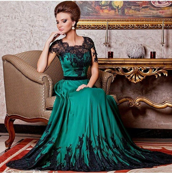 2018 Emerald Green And Black Lace A Line Prom Evening Dresses With Short Sleeves Dubai Women Party Formal Gowns Custom Made