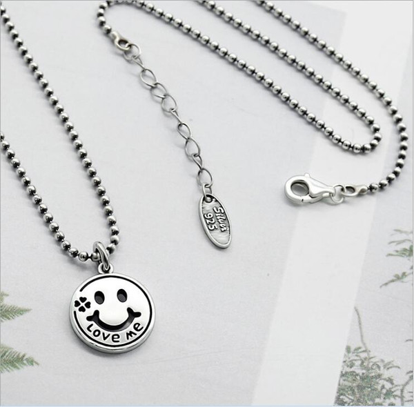 Original Design Retro Thai 925 Sterling Silver Jewelry Handmade Custom beads chain Smiley Face Love Me Eearrings Necklace Sets for girfriend