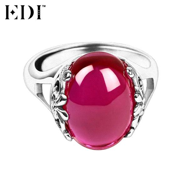 EDI 925 Anelli di nozze in argento sterling per le donne Pietre preziose naturali rosa Rubino Thai argento Anelli Gioielli preziosi Regali d'amore