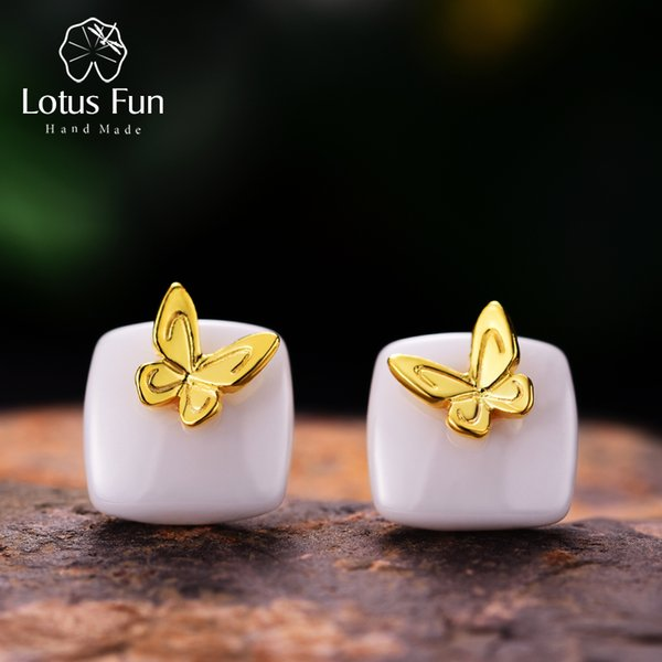 Lotus Fun Real 925 Sterling Silver Natural Ceramics Creative Handmade Fine Jewelry Lovely Butterfly Stud Earrings for Women S18101207