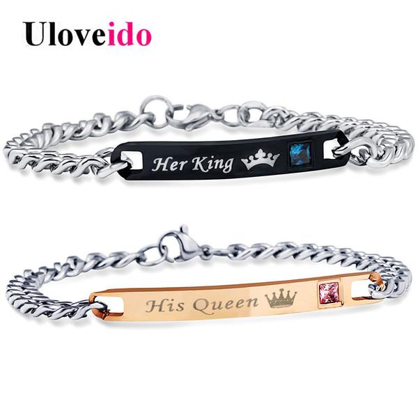 Uloveido Her King and His Queen Bracciali per donna e uomo Gioielli Bracciale in acciaio inossidabile per gioielli da sposa Coppia SN116