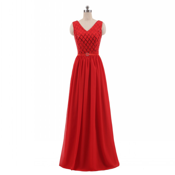 Real Photos Elegant Women A-Line V-Neck Chiffon Sequins Red Bridesmaid Dresses Long Plus Size Maxi Skrit Open Back Wedding Party Dresses
