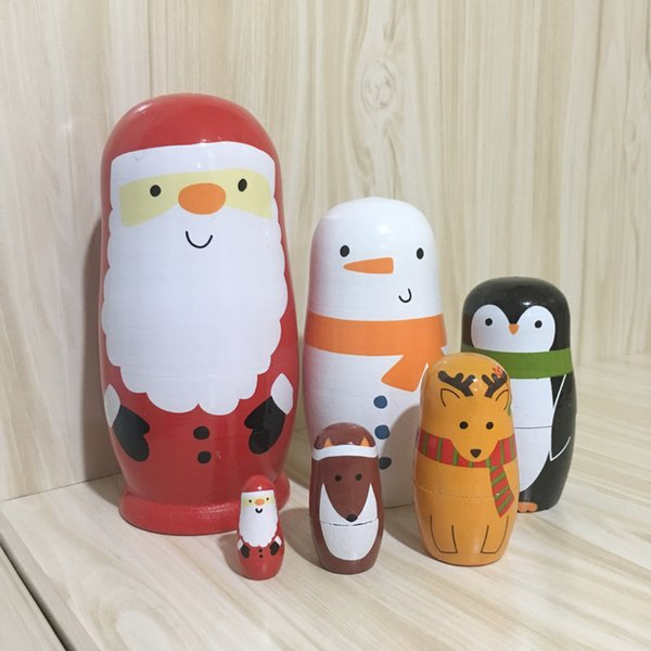 Russian Nesting Dolls 5pcs Wooden Russian Nesting Dolls Matryoshka Handmade Animall Kids Toys Gift Nativity Decoration