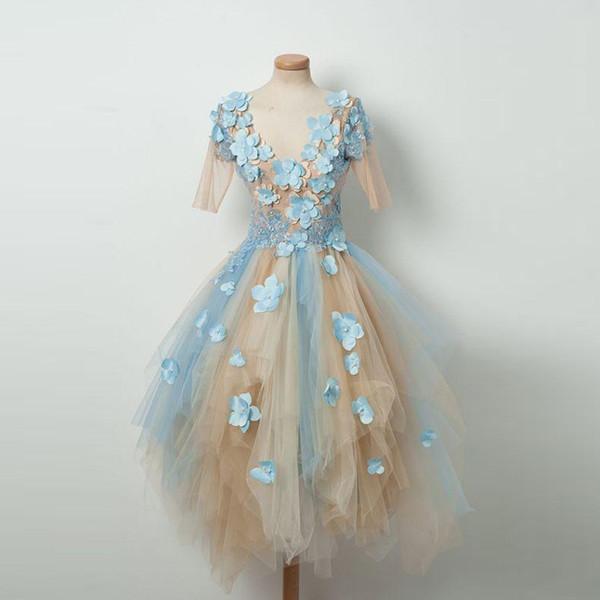 Mavi ve Şampanya Tül Mezuniyet Elbiseleri Çiçek Aplike Yarım Görünüyor olsa bile Kol Düzensiz Backless Gril Kısa Elbise Kokteyl Elbise