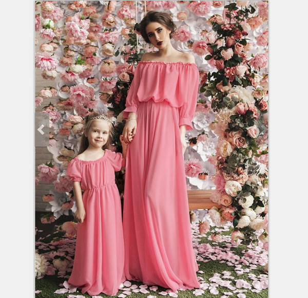 d48d4679c1 New Maternity Women Mother Daughter Maxi Dress Family Matching Outfits  Fashion Mommy and Me Long Dress