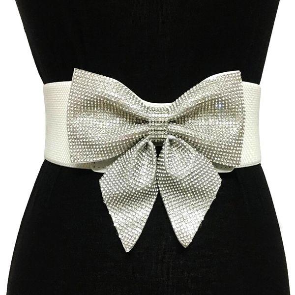 Fashion new Crystal Rhinestone bow-knot belts for women Bride Wedding Party elastic wide Bridal Dress Belt accessories