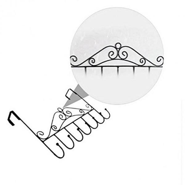 OUNONA 7 Hooks Bathroom Over Door Hanger for Towel Coat Clothes Hat Bag Hanging Iron Art Hanger
