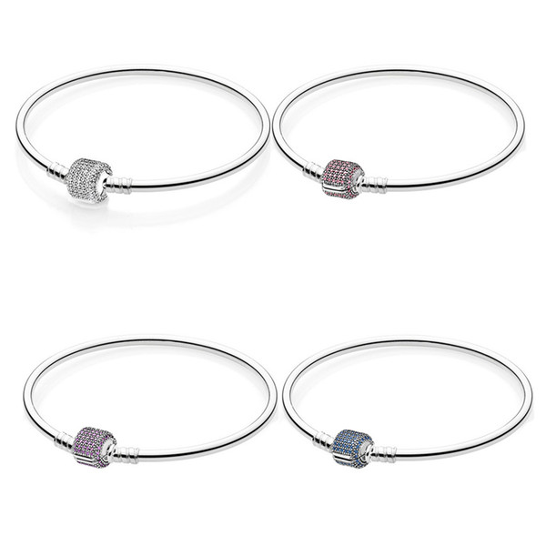 35c5150acad3 Multicolor Pave Signature Crystal Barrel Clasp Bracelet Fit Snake Chain  Bracelet 925 Sterling Silver Bead Charm