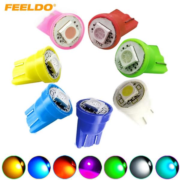 FEELDO 10PCS DC12V Car 168 194 T10 5050 Chip 1SMD LED Wedge Base Car LED Light Bulbs 7-Color #1525