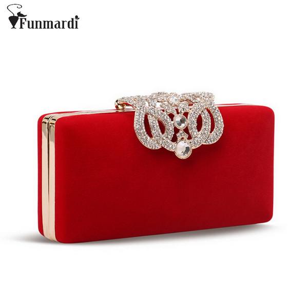 Atacado-Hot venda de diamante de cristal coroa de design de veludo cadeia de mulheres sacos, sacos de embreagem, sacos de noite, bolsas WLHB993
