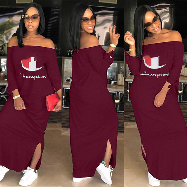 top popular Women Champions Letter Dress Autumn Shoulder Out Split Long Hoodie Dresses Brand Fashion Long Sleeve Skirt Plus Size Casual Clothing 2019