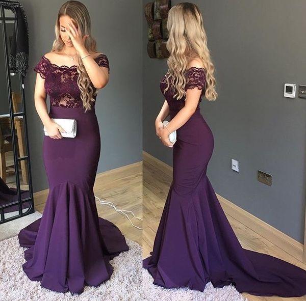Sexy viola plus size abito da sera formale lungo 2018 Scoop Sheer collo con maniche sirena in raso pizzo vedere attraverso designer vestito da promenade a buon mercato