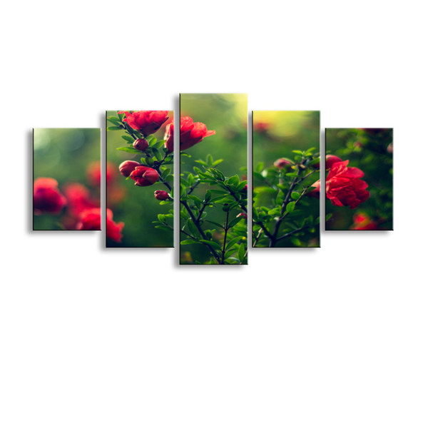 5 pieces high-definition print Depth Of Field flowers canvas oil painting poster and wall art living room picture PF5-009