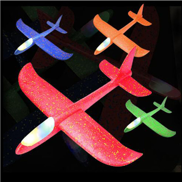 Led Lamp EPP Foam Hand Throwing Airplane Model Launch Glider Plane Aircraft Cyclotron Kids Flying Toy Best Gift Flashing Outdoor