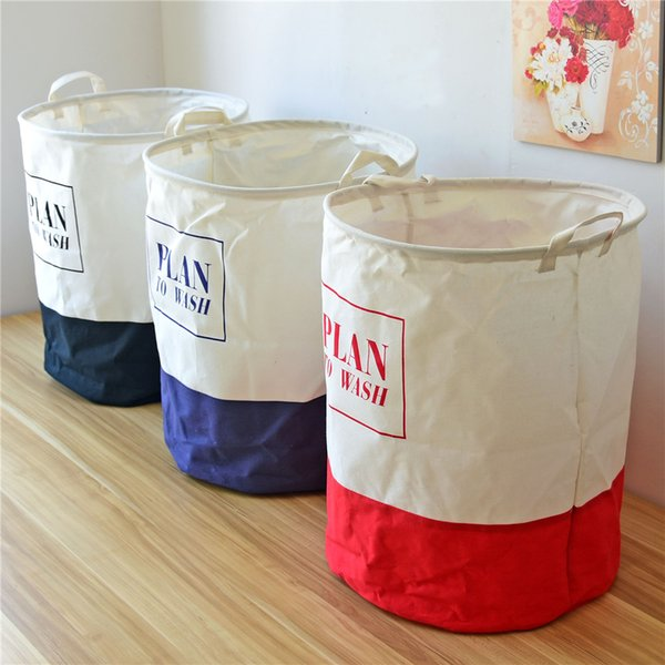 Cloth Folding Laundry Hamper Dirty Clothes Canvas Storage Baskets Boxes Waterproof 40x50cm Large Laundry Basket Bags for Washing 1pcs/lot