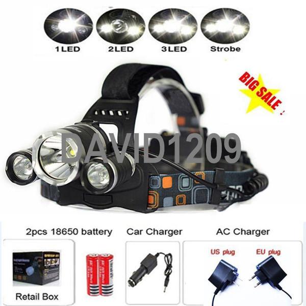RJ-3000 CREE XML T6 2R5 4 Mode Hiking LED Headlamp Headlight bike light led bicycle light+charger+Car charger+battery