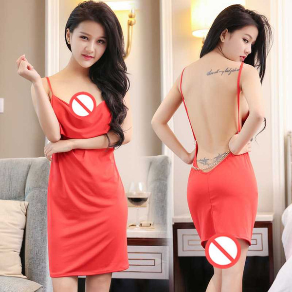 top popular Free Shipping New sexy lingerie cosplay temptation lingerie suspenders strapless low back halter sexy pajamas mini skirt temptation to sleep 2021