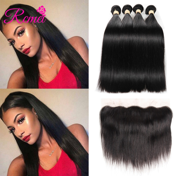 Rcmei Malaisie Cheveux Raides Bundles Extensions de Cheveux Humains 4 Bundles Avec Manger À L'oreille Dentelle Frontale Remy Cheveux Weave Bundles 10-28 pouces