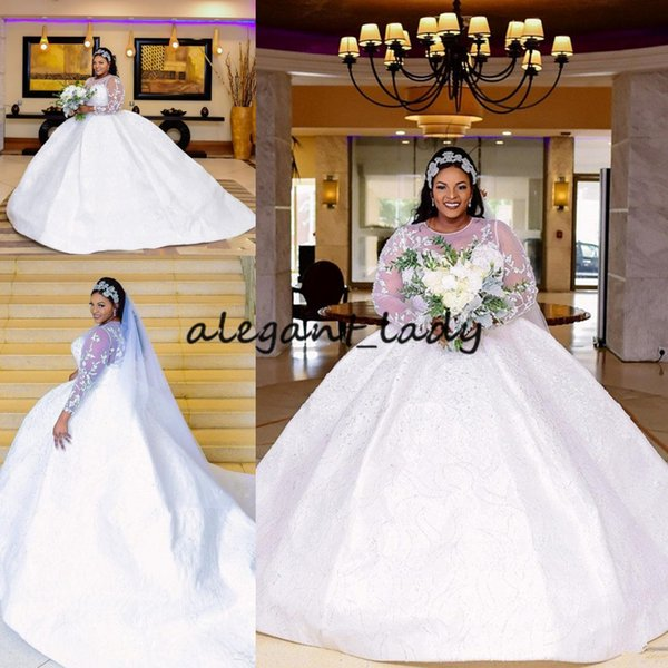 Plus Size Princess Wedding Dresses with Illusion Long Sleeve 2019 Sheer Jewel Neck Puffy Skirt Lace Applique Afrian royal Wedding Gown
