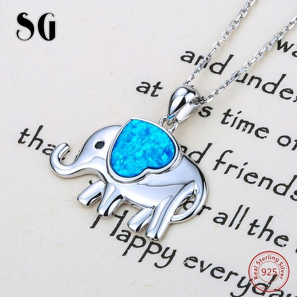 SG cute elephant growing love heart enamel charms pendant chain necklace 925 silver diy fashion jewelry for Valentine's Day gift