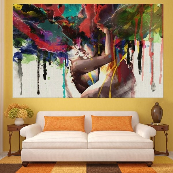 Love Wedding Home Decor Hugging Couple Portrait Abstract Lover Canvas Print Painting for Living Room Kitchen Wall Art Dropship Y18102209